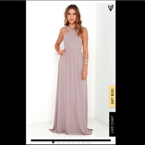 LuLus Air of Romance Taupe Maxi Dress